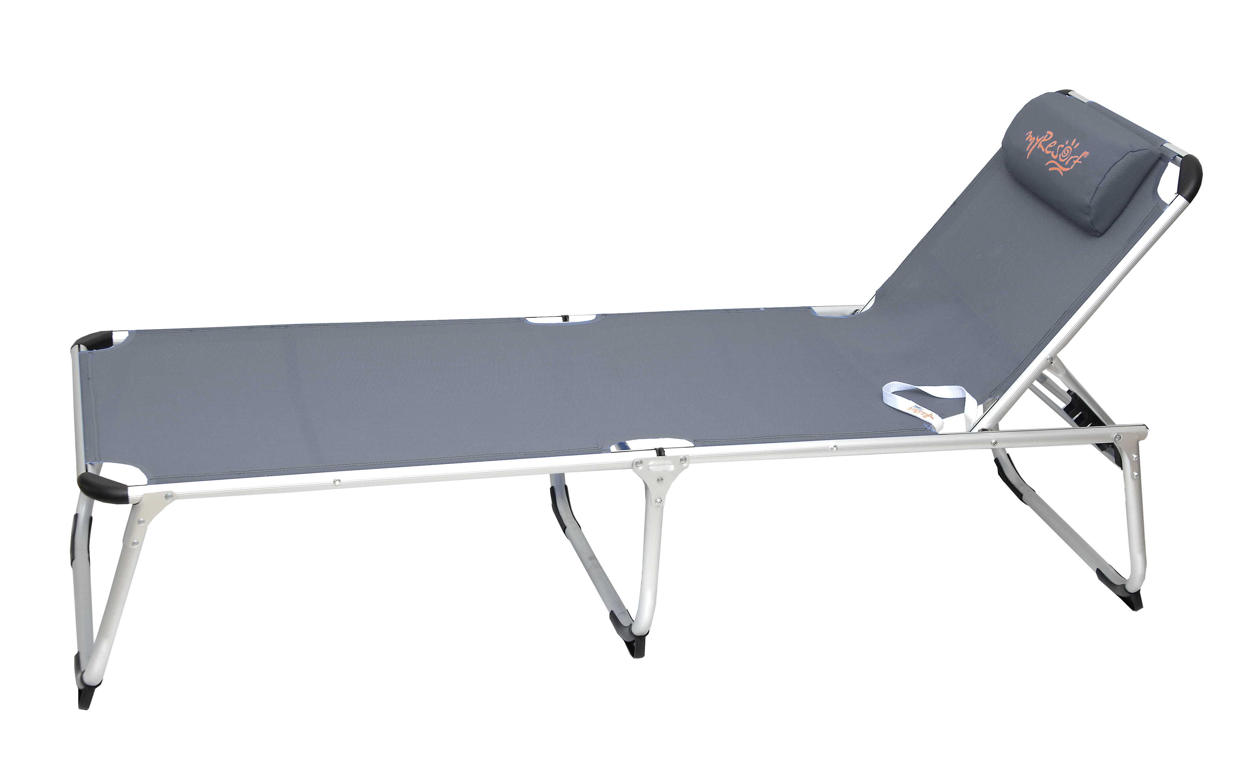 RIPPLED ALUM SUNBED KING SIZE GRAY WITH RECLINING BACK,ΤΕΧΤ