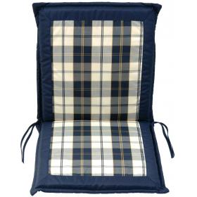 BLUE PLAID CUSHION FOR LOW BACK CHAIR DOUBLE FACE 96Χ48Χ4cm
