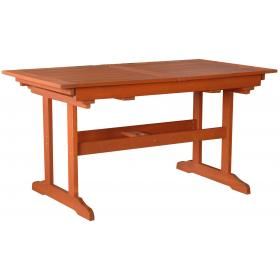 WOOD MERANTI TABLE L140/186ΧW78ΧH73cm