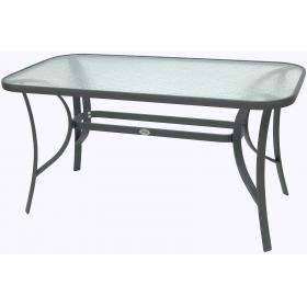 ALU TABLE CHARCOAL GREY WITH GLASS :L160*W85*H71cm,-BARCODE: