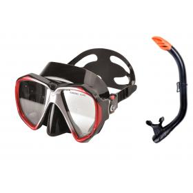 SET MASK & SNORKEL BLACK -RED  PVC